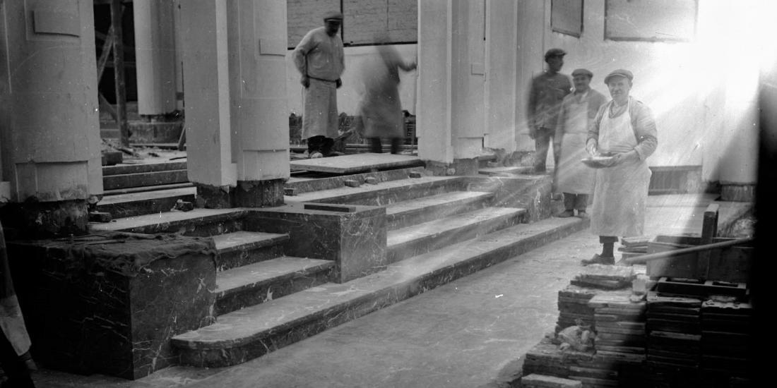 Construction d'un escalier dans le Palais des Beaux-Arts de Bruxelles 1927