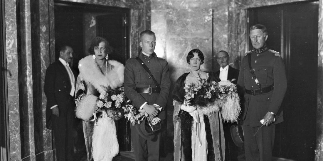 Inauguration de la grande salle de concerts, le 19 octobre 1929 - Albert Ier, Elisabeth, Charles, Marie-José, Henry Le Boeuf