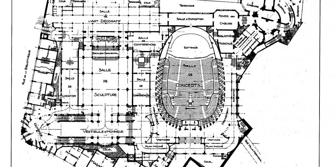 Plan du Palais des Beaux-Arts de Victor Horta
