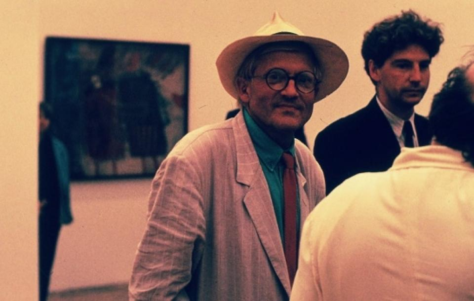 David Hockney at the opening of his exhibition at the Centre for Fine Arts, 1992