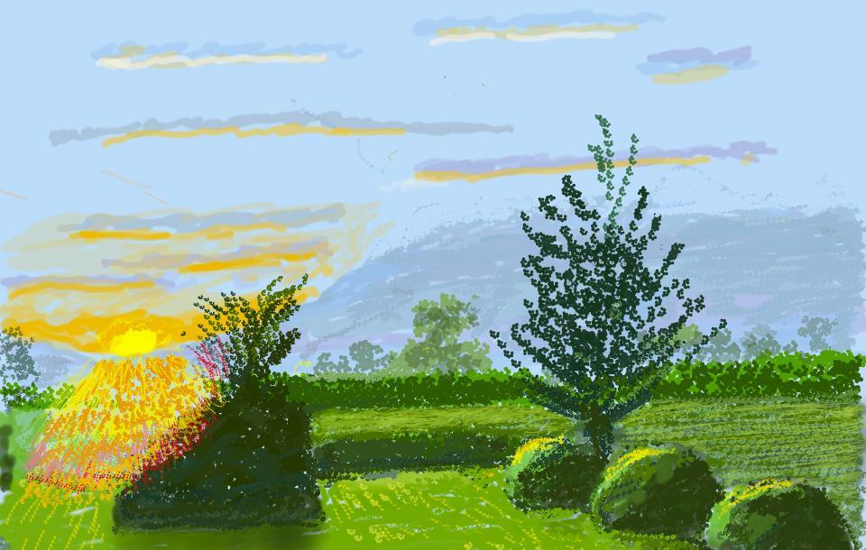 """David Hockney, """"No. 227"""", 22nd April 2020, iPad painting, © David Hockney"""