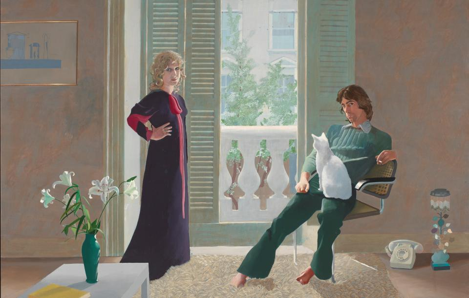 Double portrait of Mr. and Mrs. Clark with their cat Percy by David Hockney